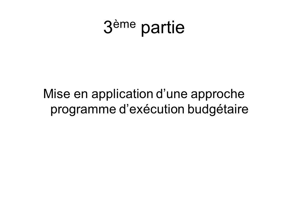 3 ème partie Mise en application dune approche programme dexécution budgétaire