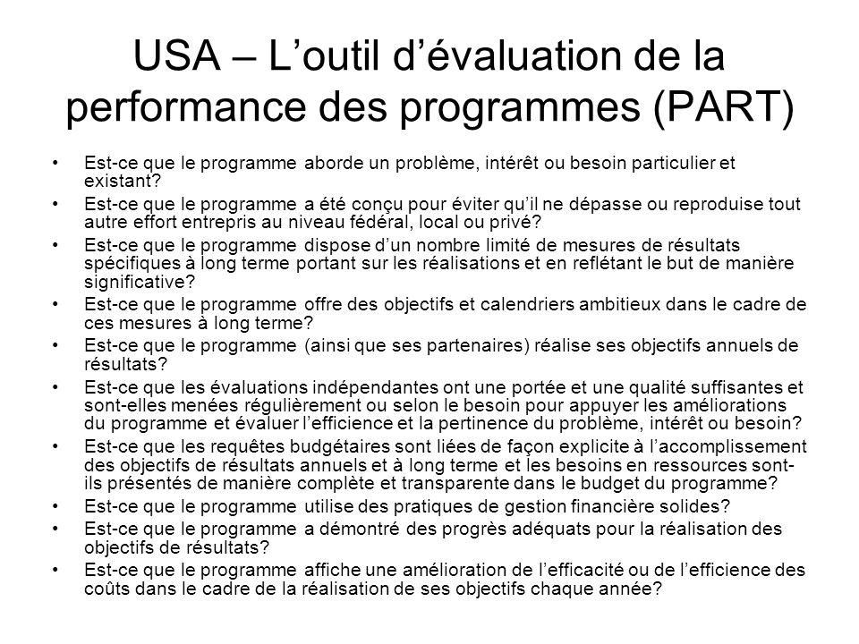USA – Loutil dévaluation de la performance des programmes (PART) Est-ce que le programme aborde un problème, intérêt ou besoin particulier et existant