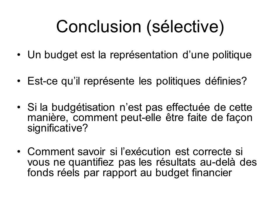 Conclusion (sélective) Un budget est la représentation dune politique Est-ce quil représente les politiques définies? Si la budgétisation nest pas eff