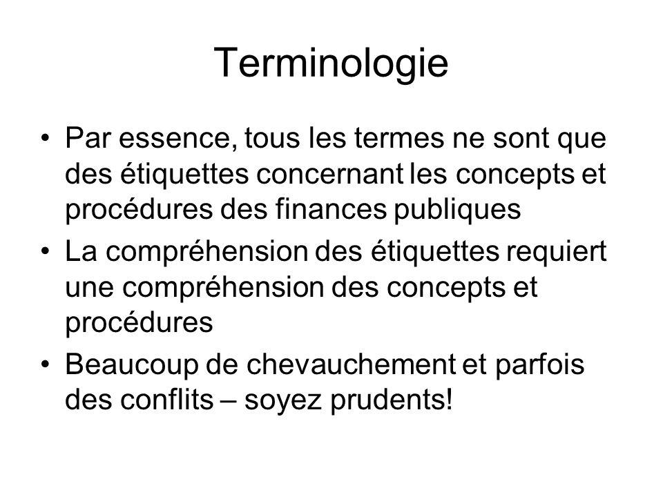 Terminologie Par essence, tous les termes ne sont que des étiquettes concernant les concepts et procédures des finances publiques La compréhension des