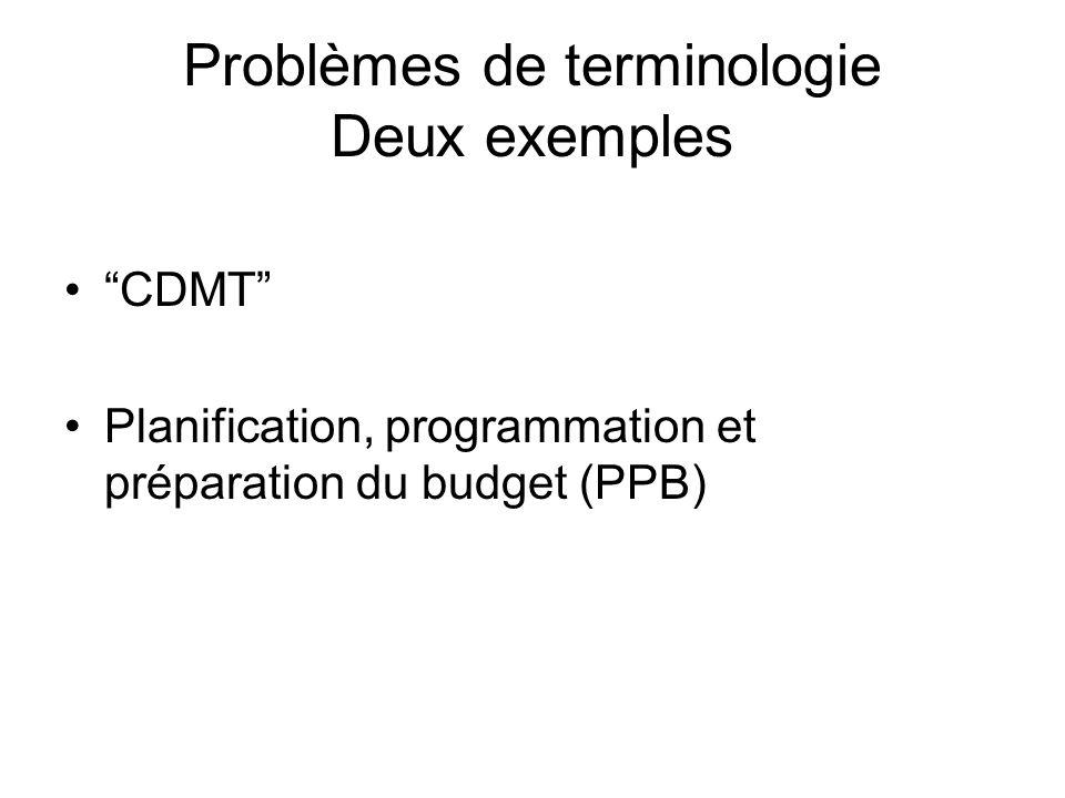 Problèmes de terminologie Deux exemples CDMT Planification, programmation et préparation du budget (PPB)