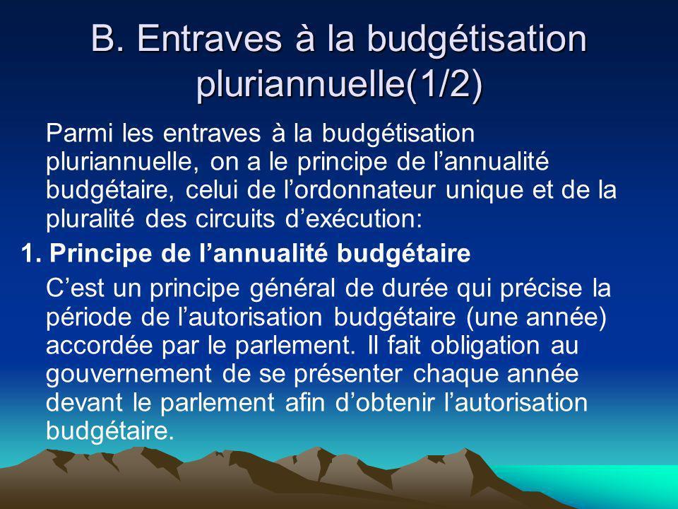 B. Entraves à la budgétisation pluriannuelle(1/2) Parmi les entraves à la budgétisation pluriannuelle, on a le principe de lannualité budgétaire, celu