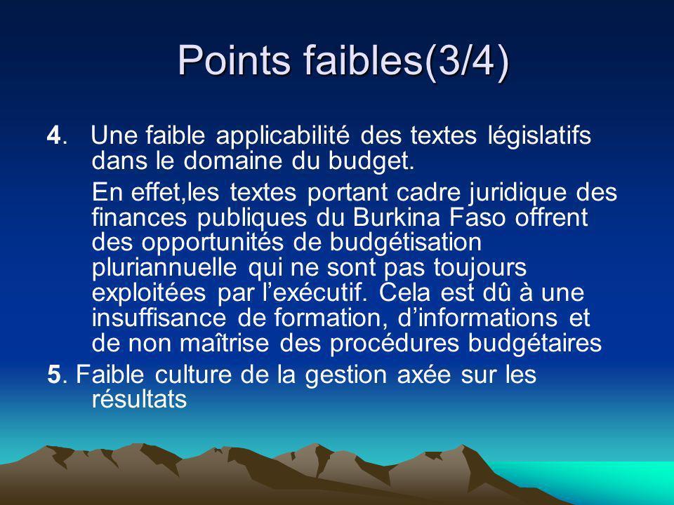 Points faibles(3/4) Points faibles(3/4) 4. Une faible applicabilité des textes législatifs dans le domaine du budget. En effet,les textes portant cadr