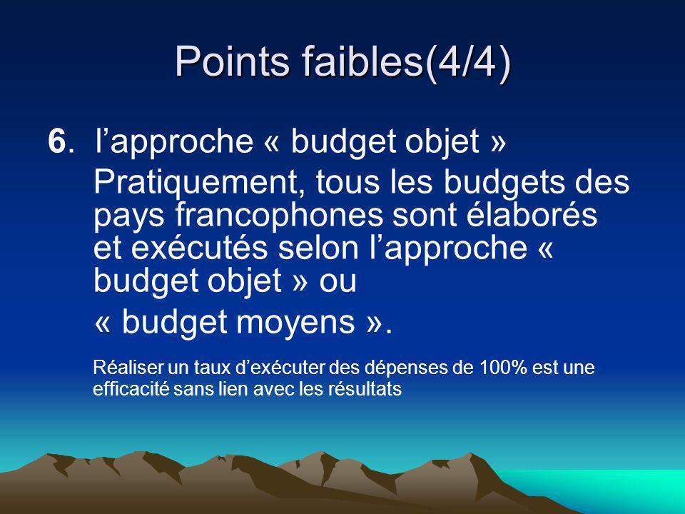 Points faibles(4/4) 6. lapproche « budget objet » Pratiquement, tous les budgets des pays francophones sont élaborés et exécutés selon lapproche « bud