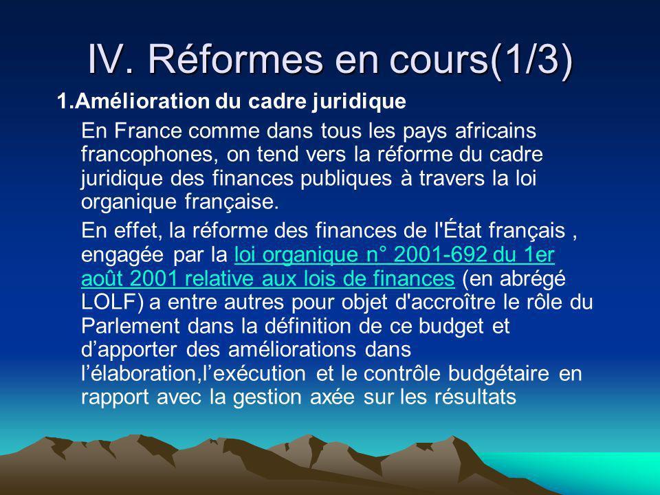 IV. Réformes en cours(1/3) 1.Amélioration du cadre juridique En France comme dans tous les pays africains francophones, on tend vers la réforme du cad