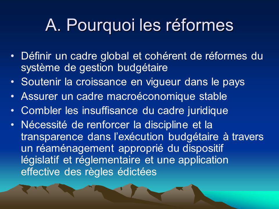 A. Pourquoi les réformes Définir un cadre global et cohérent de réformes du système de gestion budgétaire Soutenir la croissance en vigueur dans le pa