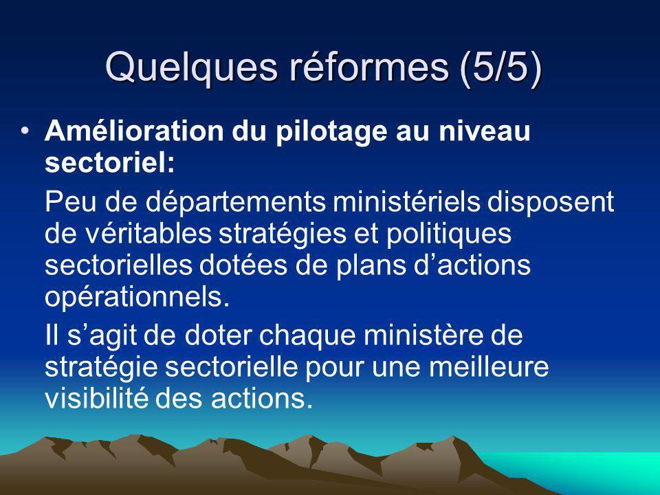 Quelques réformes (5/5) Amélioration du pilotage au niveau sectoriel: Peu de départements ministériels disposent de véritables stratégies et politique