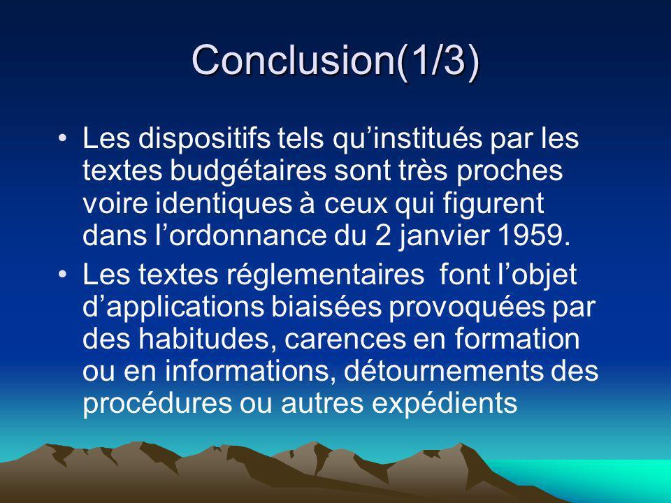 Conclusion(1/3) Les dispositifs tels quinstitués par les textes budgétaires sont très proches voire identiques à ceux qui figurent dans lordonnance du