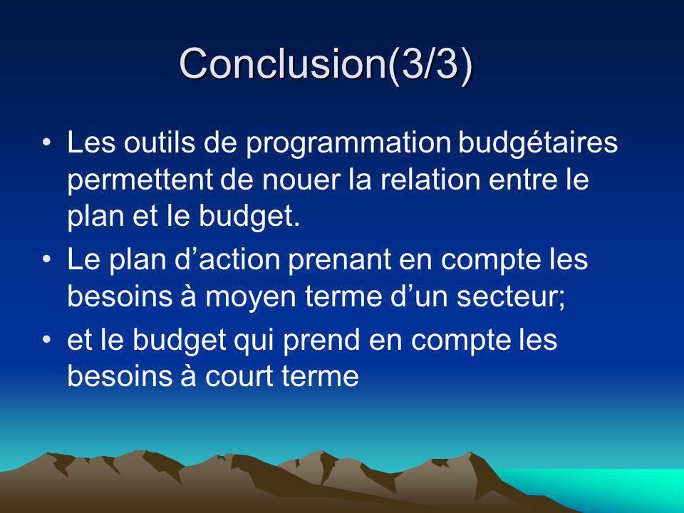 Conclusion(3/3) Les outils de programmation budgétaires permettent de nouer la relation entre le plan et le budget. Le plan daction prenant en compte