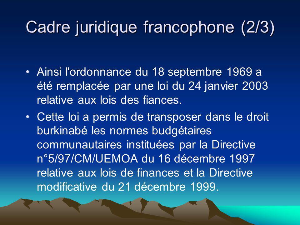 Cadre juridique francophone (2/3) Ainsi l'ordonnance du 18 septembre 1969 a été remplacée par une loi du 24 janvier 2003 relative aux lois des fiances