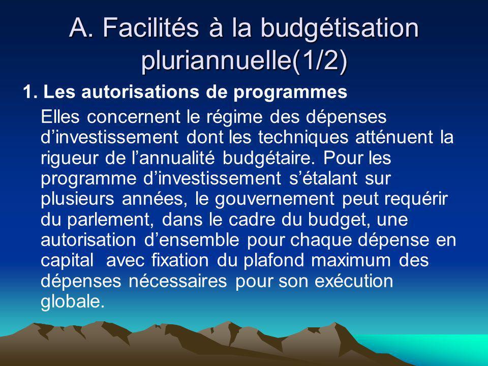 A. Facilités à la budgétisation pluriannuelle(1/2) 1. Les autorisations de programmes Elles concernent le régime des dépenses dinvestissement dont les
