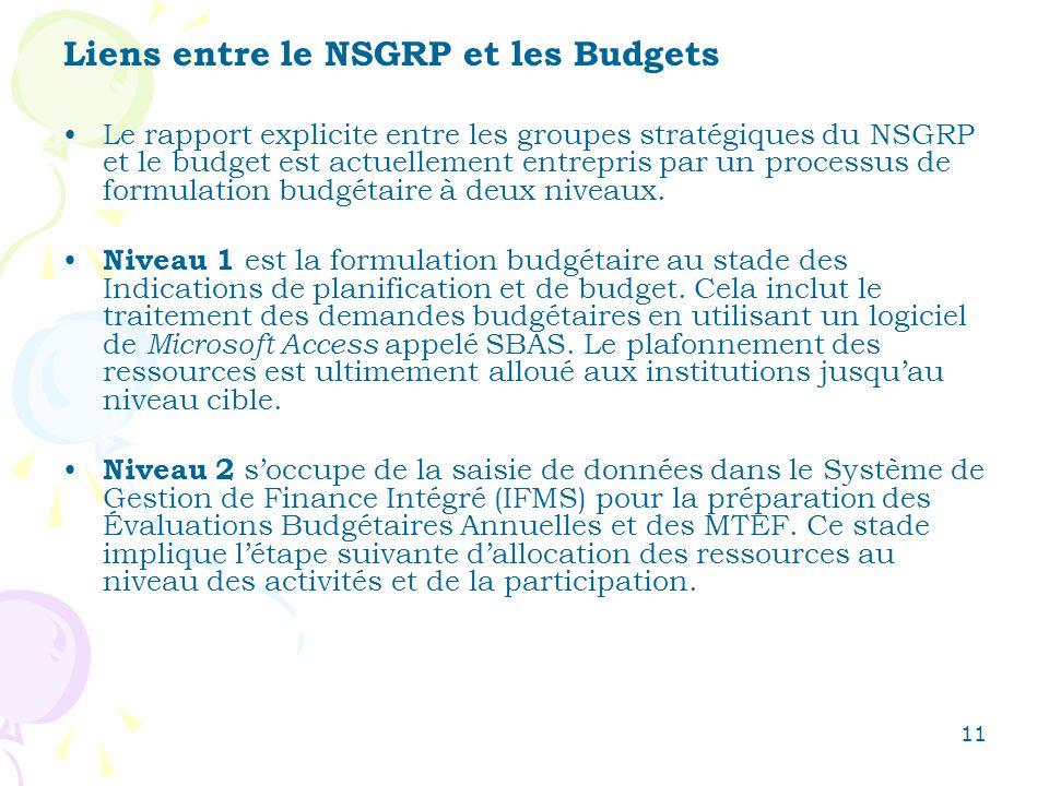 11 Liens entre le NSGRP et les Budgets Le rapport explicite entre les groupes stratégiques du NSGRP et le budget est actuellement entrepris par un processus de formulation budgétaire à deux niveaux.