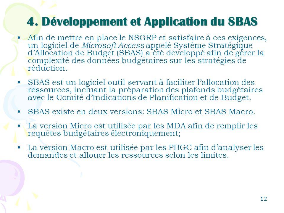 12 4. Développement et Application du SBAS Afin de mettre en place le NSGRP et satisfaire à ces exigences, un logiciel de Microsoft Access appelé Syst