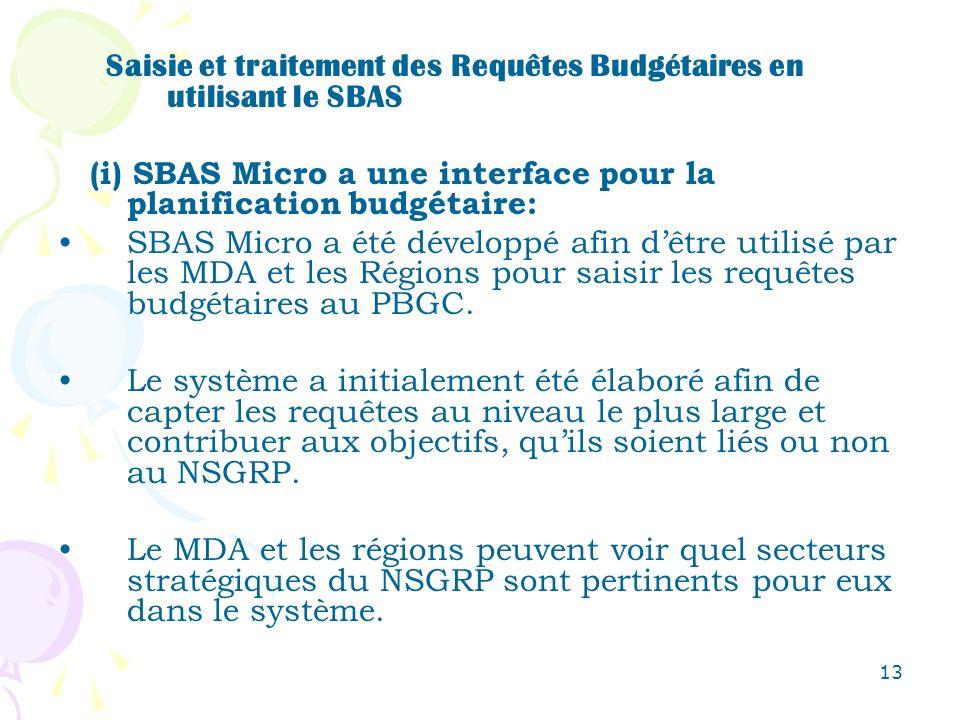 13 Saisie et traitement des Requêtes Budgétaires en utilisant le SBAS (i) SBAS Micro a une interface pour la planification budgétaire: SBAS Micro a ét
