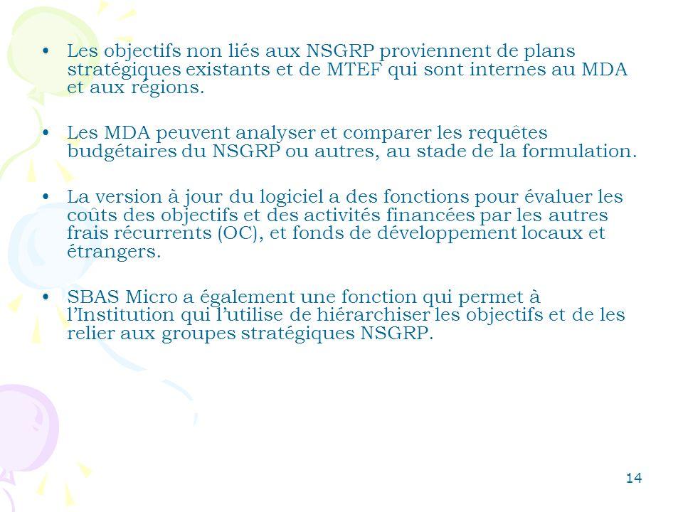 14 Les objectifs non liés aux NSGRP proviennent de plans stratégiques existants et de MTEF qui sont internes au MDA et aux régions. Les MDA peuvent an