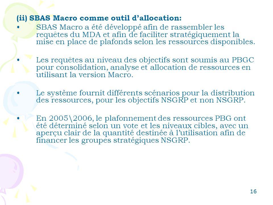 16 (ii) SBAS Macro comme outil dallocation: SBAS Macro a été développé afin de rassembler les requêtes du MDA et afin de faciliter stratégiquement la mise en place de plafonds selon les ressources disponibles.