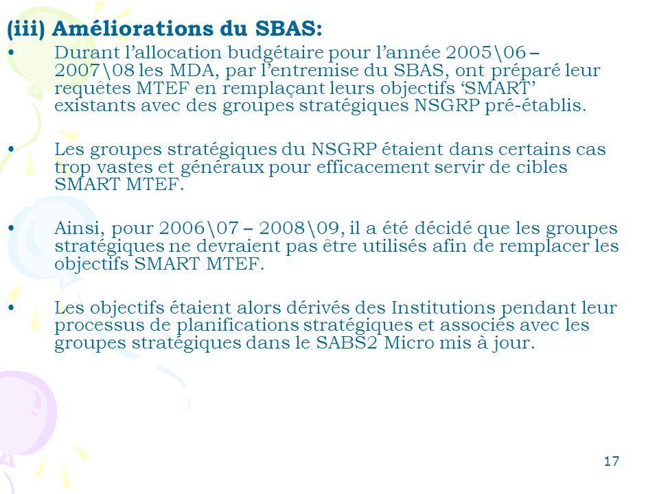 17 (iii) Améliorations du SBAS: Durant lallocation budgétaire pour lannée 2005\06 – 2007\08 les MDA, par lentremise du SBAS, ont préparé leur requêtes MTEF en remplaçant leurs objectifs SMART existants avec des groupes stratégiques NSGRP pré-établis.