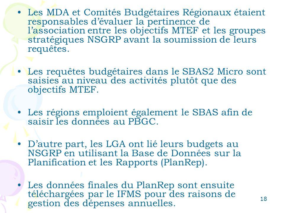 18 Les MDA et Comités Budgétaires Régionaux étaient responsables dévaluer la pertinence de lassociation entre les objectifs MTEF et les groupes stratégiques NSGRP avant la soumission de leurs requêtes.