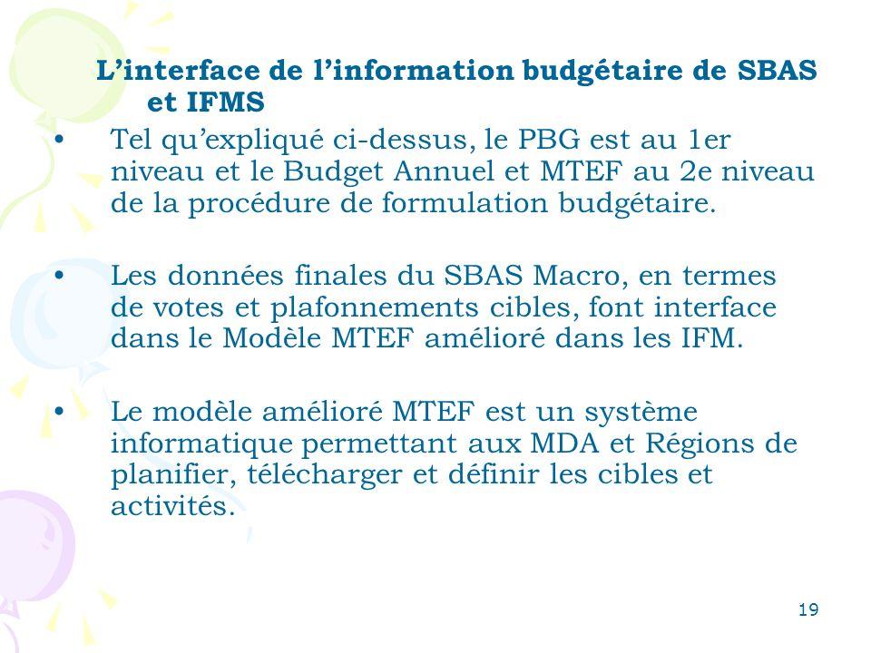 19 Linterface de linformation budgétaire de SBAS et IFMS Tel quexpliqué ci-dessus, le PBG est au 1er niveau et le Budget Annuel et MTEF au 2e niveau d