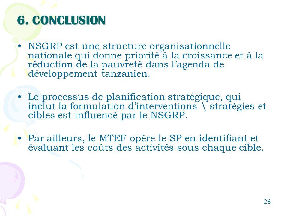 26 6. CONCLUSION NSGRP est une structure organisationnelle nationale qui donne priorité à la croissance et à la réduction de la pauvreté dans lagenda