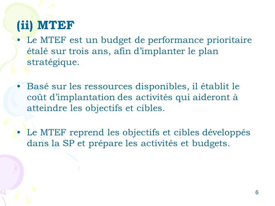 6 (ii) MTEF Le MTEF est un budget de performance prioritaire étalé sur trois ans, afin dimplanter le plan stratégique. Basé sur les ressources disponi