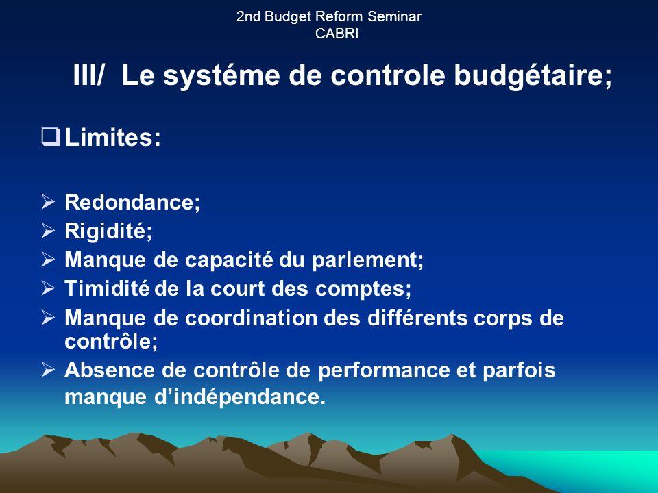 2nd Budget Reform Seminar CABRI Limites: Redondance; Rigidité; Manque de capacité du parlement; Timidité de la court des comptes; Manque de coordination des différents corps de contrôle; Absence de contrôle de performance et parfois manque dindépendance.