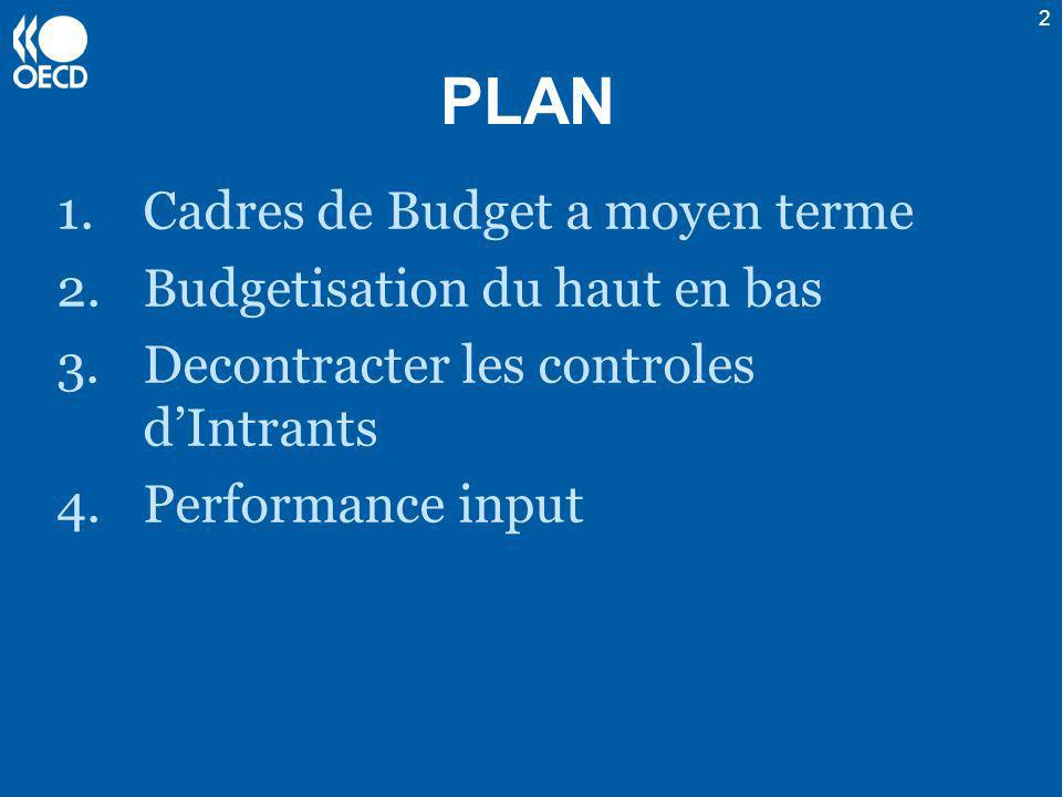 2 PLAN 1.Cadres de Budget a moyen terme 2.Budgetisation du haut en bas 3.Decontracter les controles dIntrants 4.Performance input