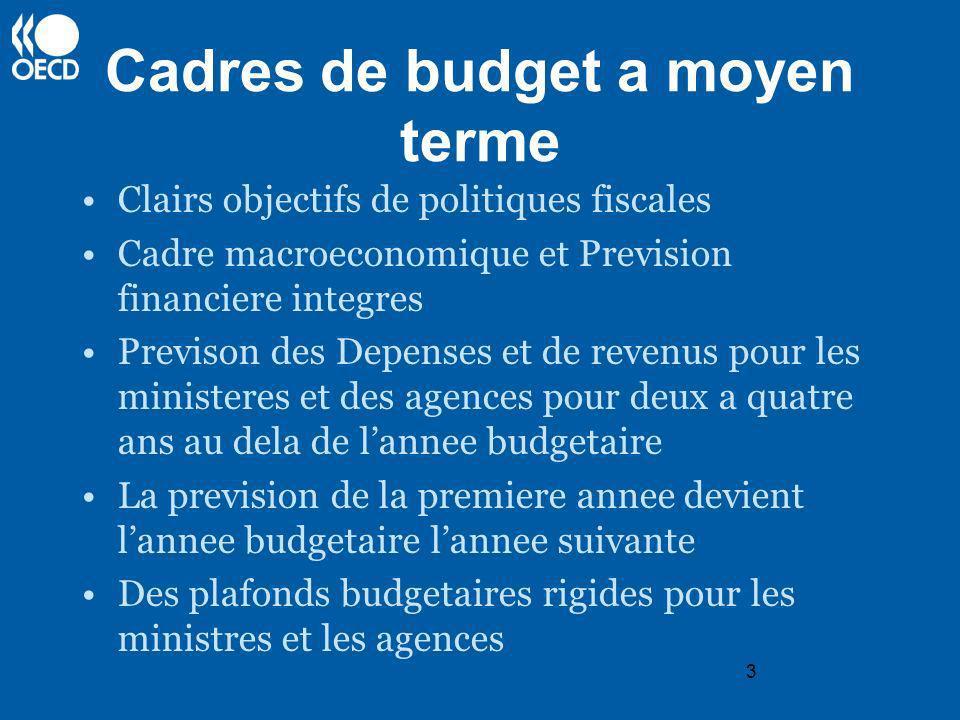 3 Cadres de budget a moyen terme Clairs objectifs de politiques fiscales Cadre macroeconomique et Prevision financiere integres Previson des Depenses