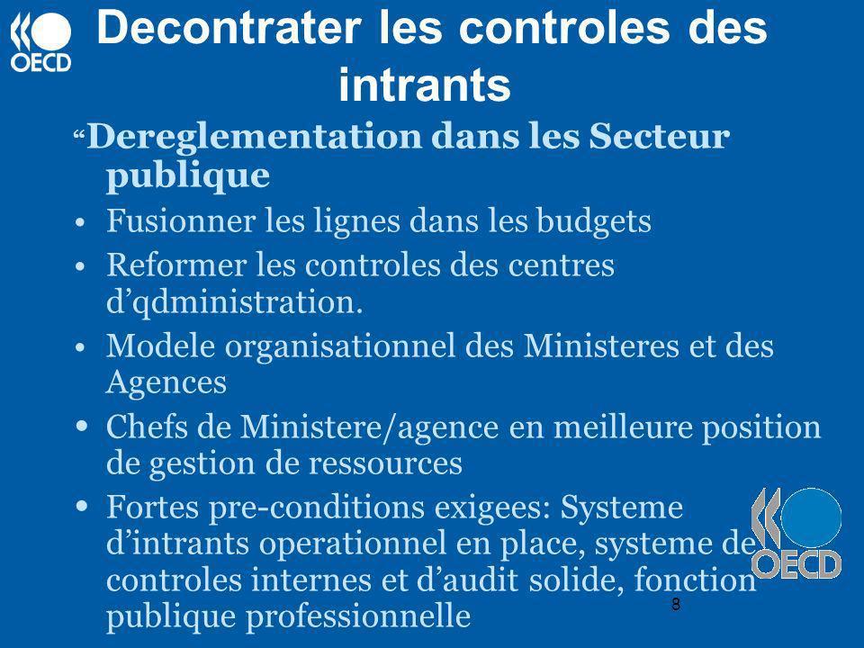 8 Decontrater les controles des intrants Dereglementation dans les Secteur publique Fusionner les lignes dans les budgets Reformer les controles des c