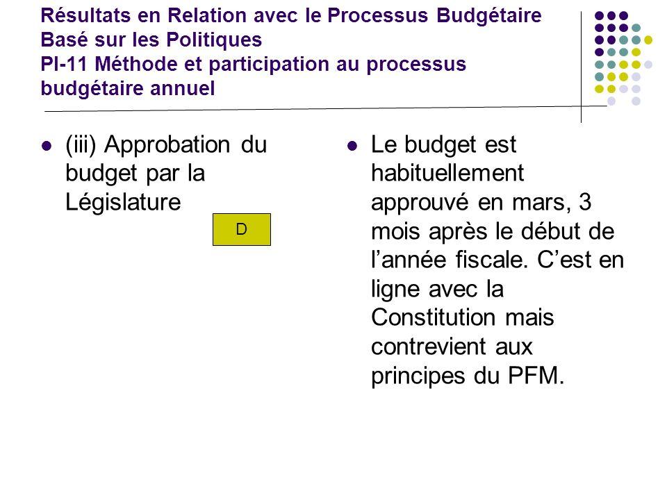 Résultats en Relation avec le Processus Budgétaire Basé sur les Politiques PI-12 Perspective de planification financière, politiques de dépenses, et processus budgétaire échelonnée sur plusieurs années.