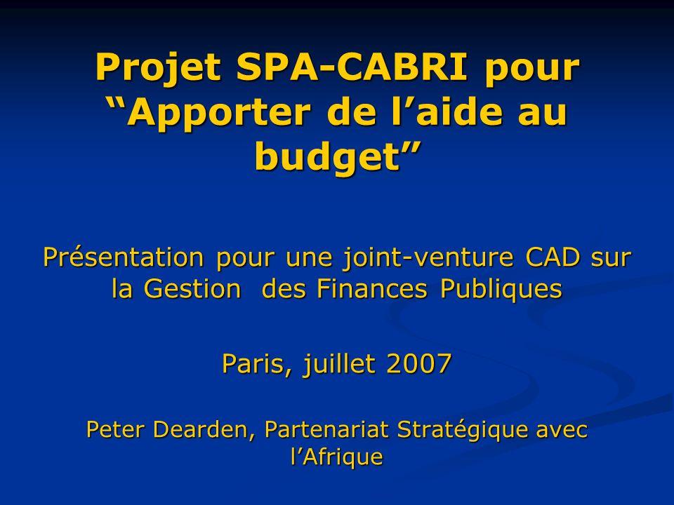 Projet SPA-CABRI pour Apporter de laide au budget Présentation pour une joint-venture CAD sur la Gestion des Finances Publiques Paris, juillet 2007 Peter Dearden, Partenariat Stratégique avec lAfrique