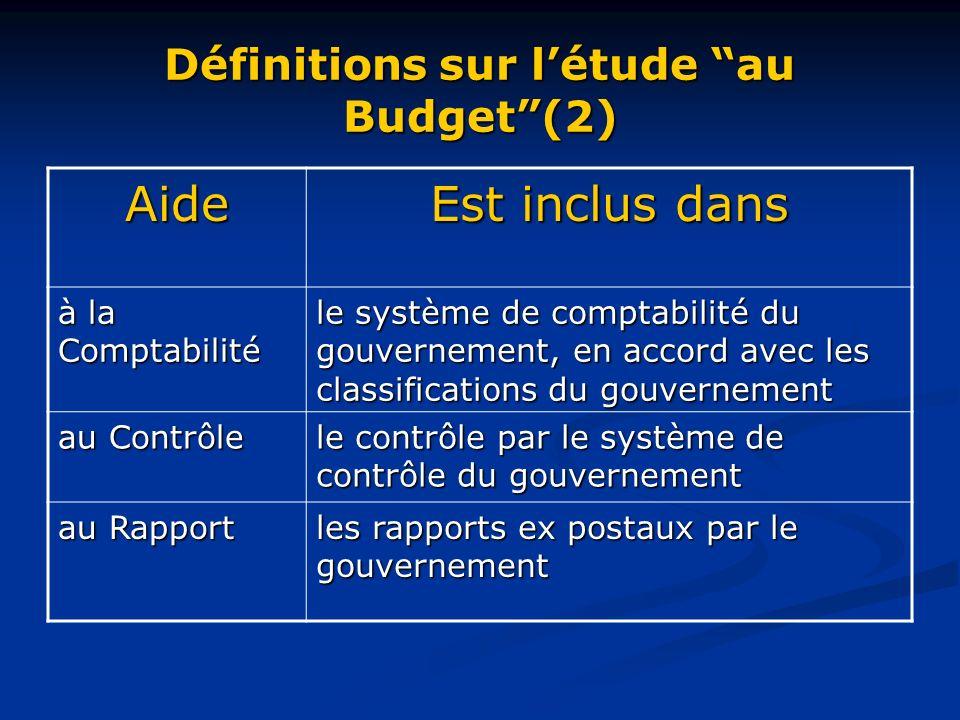 Définitions sur létude au Budget(2) Aide Est inclus dans à la Comptabilité le système de comptabilité du gouvernement, en accord avec les classifications du gouvernement au Contrôle le contrôle par le système de contrôle du gouvernement au Rapport les rapports ex postaux par le gouvernement