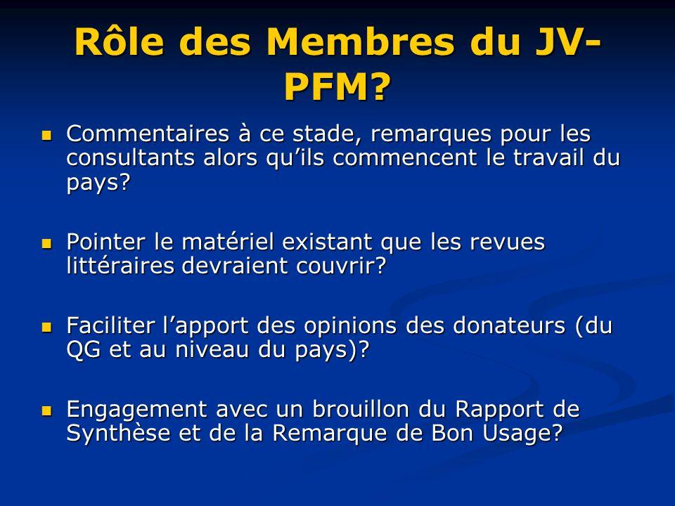 Rôle des Membres du JV- PFM.