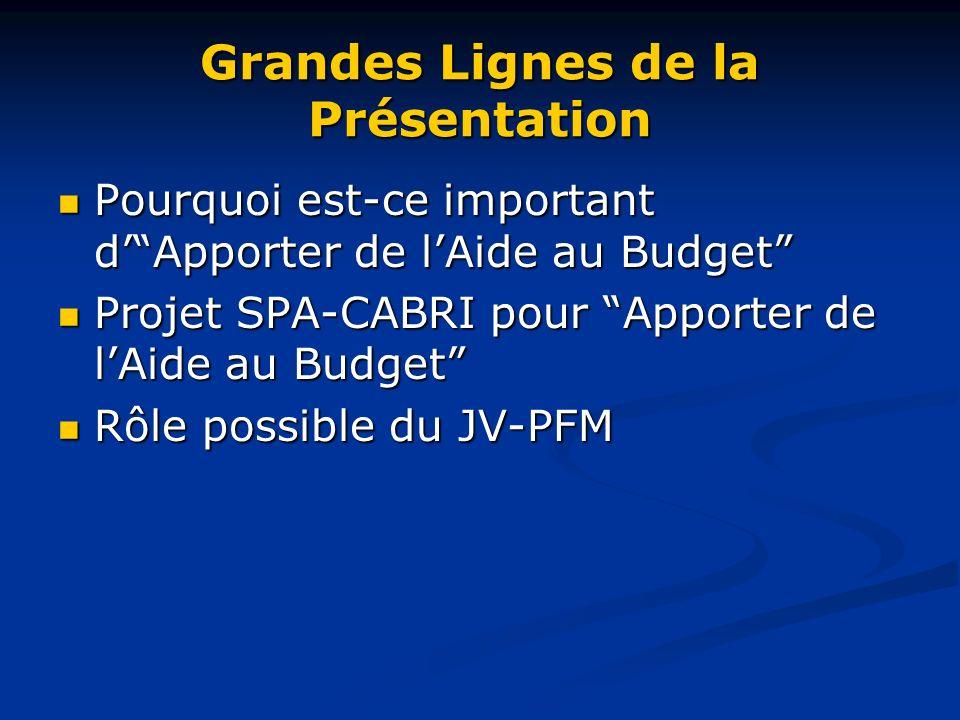 Grandes Lignes de la Présentation Pourquoi est-ce important dApporter de lAide au Budget Pourquoi est-ce important dApporter de lAide au Budget Projet SPA-CABRI pour Apporter de lAide au Budget Projet SPA-CABRI pour Apporter de lAide au Budget Rôle possible du JV-PFM Rôle possible du JV-PFM