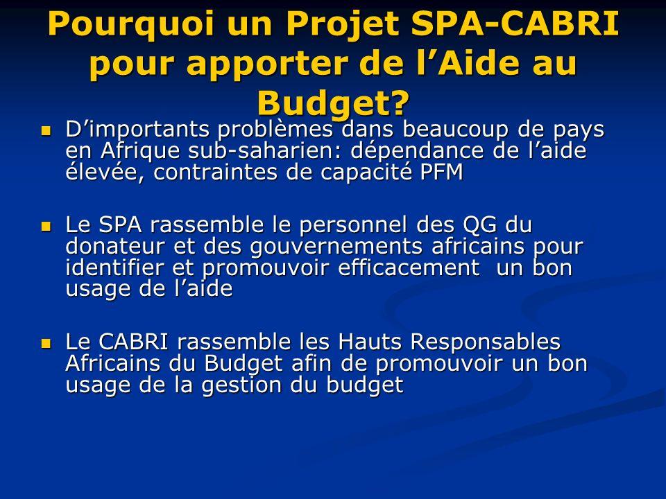 Pourquoi un Projet SPA-CABRI pour apporter de lAide au Budget.