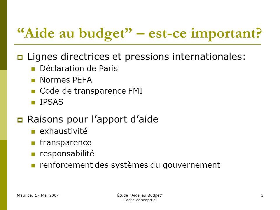 Maurice, 17 Mai 2007Étude Aide au Budget Cadre conceptuel 3 Aide au budget – est-ce important.