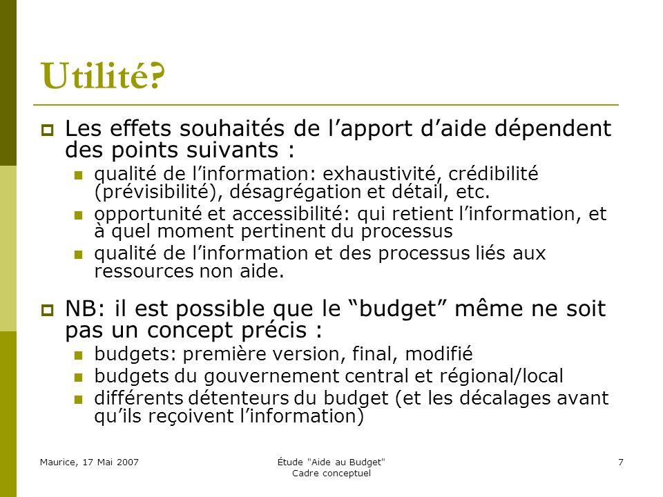 Maurice, 17 Mai 2007Étude Aide au Budget Cadre conceptuel 7 Utilité.