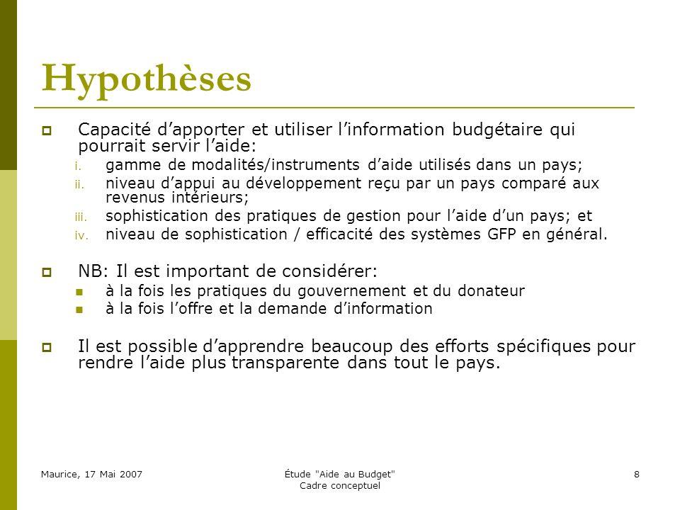 Maurice, 17 Mai 2007Étude Aide au Budget Cadre conceptuel 8 Hypothèses Capacité dapporter et utiliser linformation budgétaire qui pourrait servir laide: i.