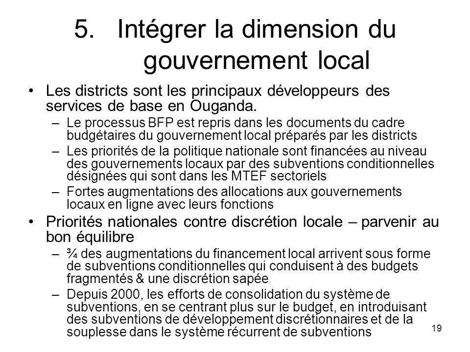19 5.Intégrer la dimension du gouvernement local Les districts sont les principaux développeurs des services de base en Ouganda.