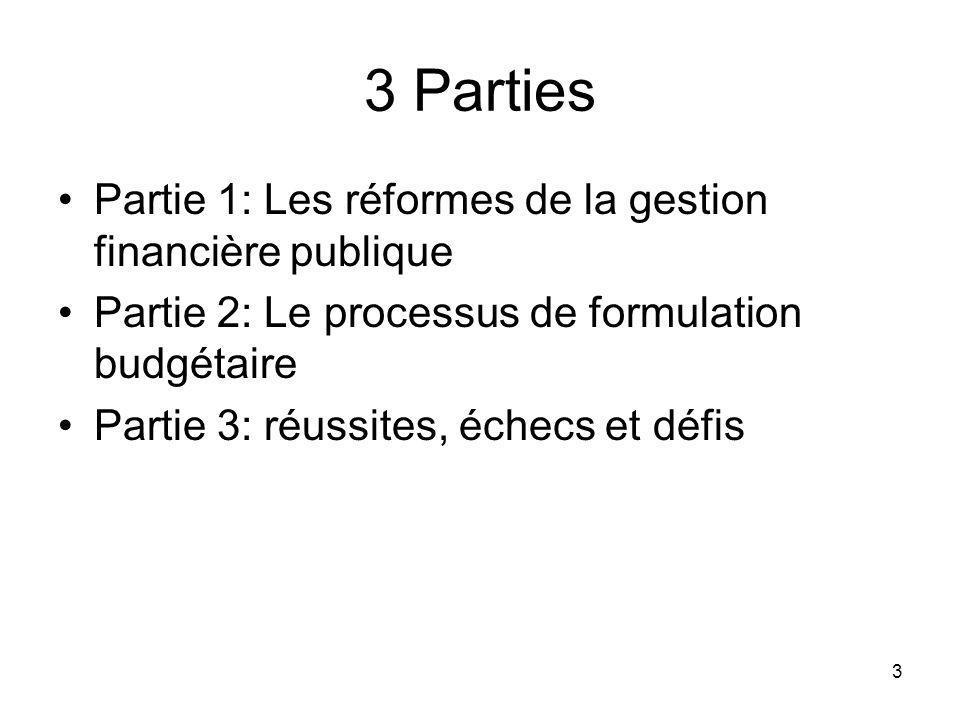 3 3 Parties Partie 1: Les réformes de la gestion financière publique Partie 2: Le processus de formulation budgétaire Partie 3: réussites, échecs et défis