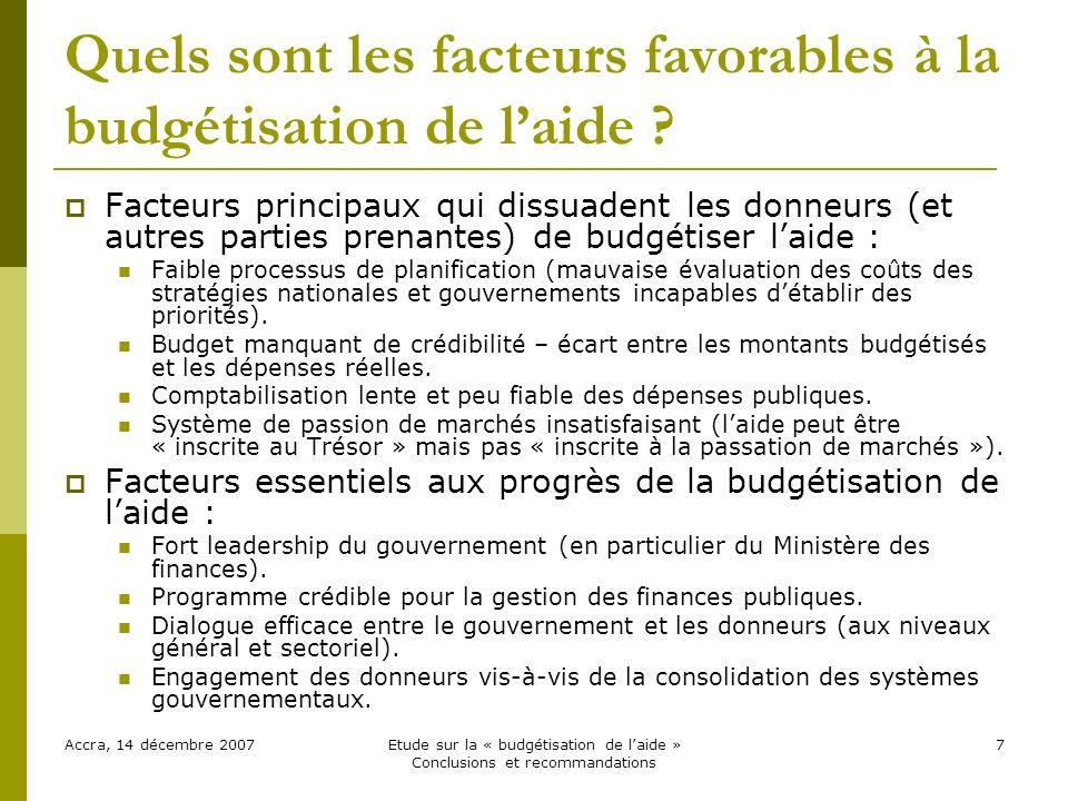 Quels sont les facteurs favorables à la budgétisation de laide .