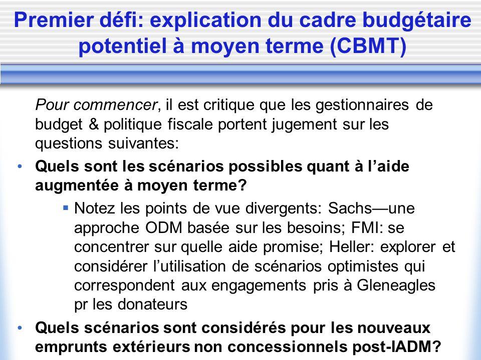 Premier défi: explication du cadre budgétaire potentiel à moyen terme (CBMT) Pour commencer, il est critique que les gestionnaires de budget & politique fiscale portent jugement sur les questions suivantes: Quels sont les scénarios possibles quant à laide augmentée à moyen terme.