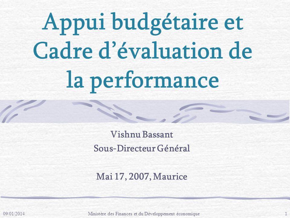 Cadre dévaluation de la performance Maurice a un cadre de réforme avec trois points de références: 1.