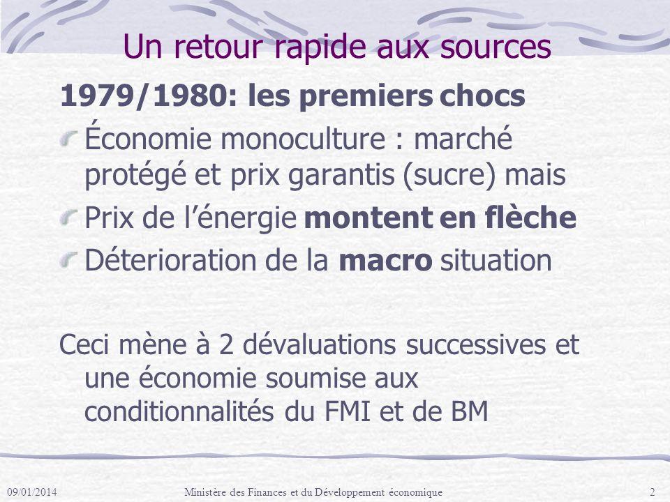 Matrice des Résultats pour les PPD Activités GRM sur trois ans: Performance fiscale : i) stabiliser les revenus; et ii) réduire les dépenses (en augmentant les dépenses pro-pauvres); Compétitivité commerciale: i) Révision des incitations pour réduire les tendances anti-export; ii) Augmenter la productivité des secteurs existants; et iii) Faciliter le développement de nouveaux secteurs dynamiques.