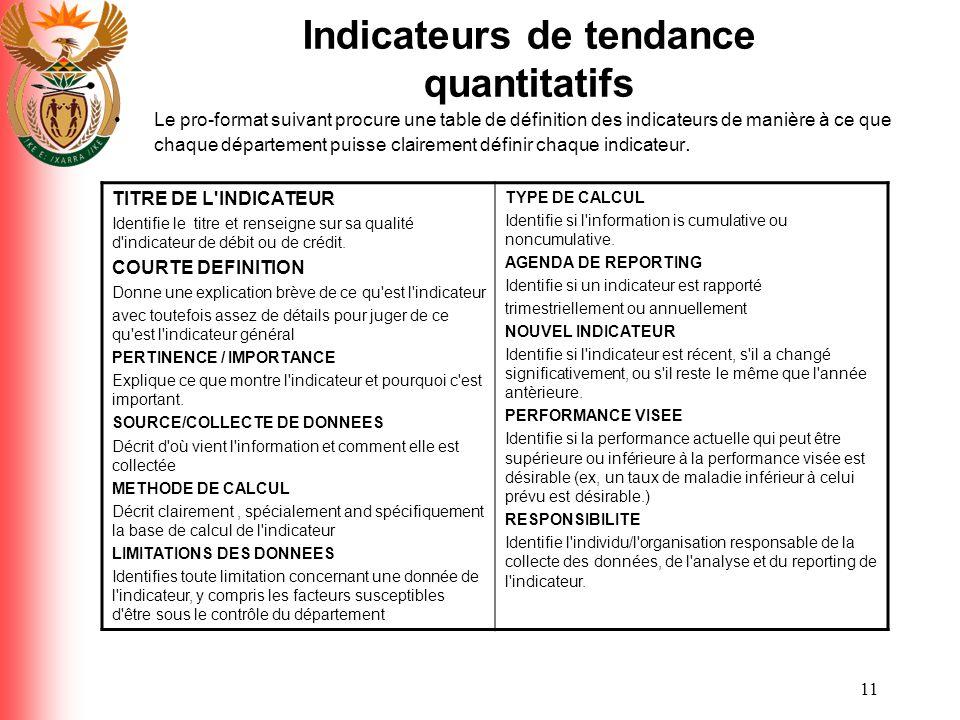 11 Indicateurs de tendance quantitatifs Le pro-format suivant procure une table de définition des indicateurs de manière à ce que chaque département p