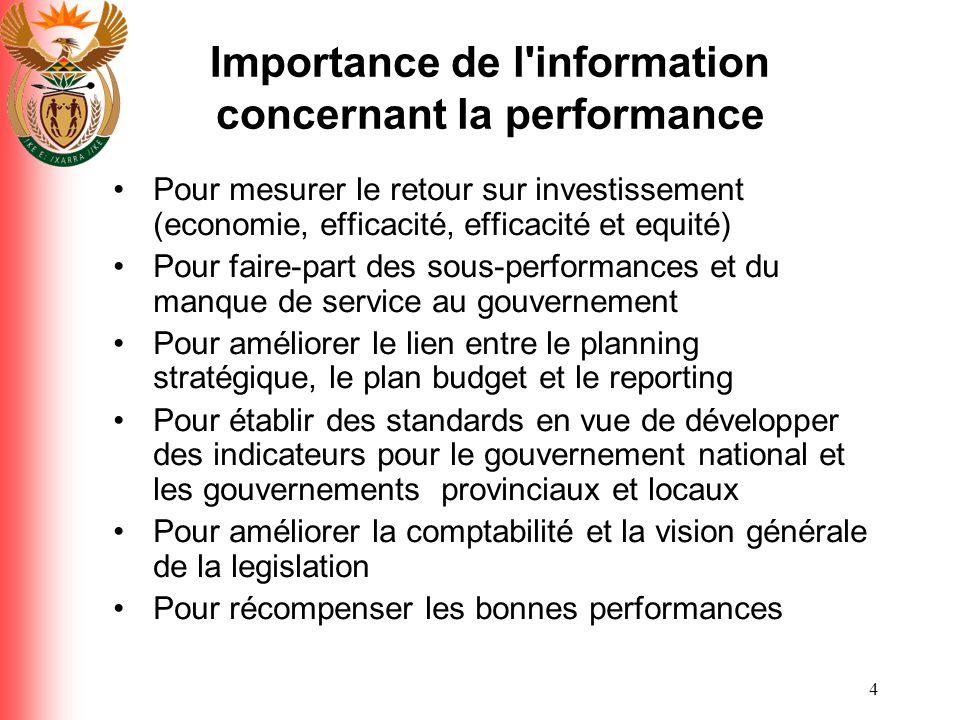 4 Importance de l'information concernant la performance Pour mesurer le retour sur investissement (economie, efficacité, efficacité et equité) Pour fa