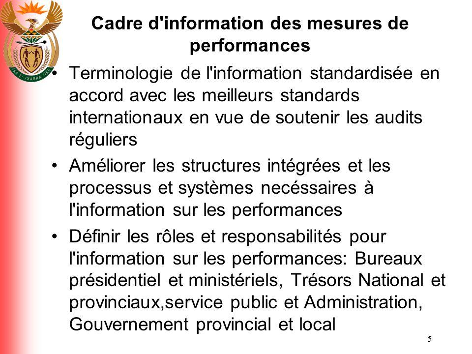 6 Cadre d information des performances Promouvoir la capacité comptable et la transparence en fournissant au parlement, aux pouvoirs legislatifs provinciaux, aux conseils municipaux, une information sur les performances ponctuelle, accessible et précise.