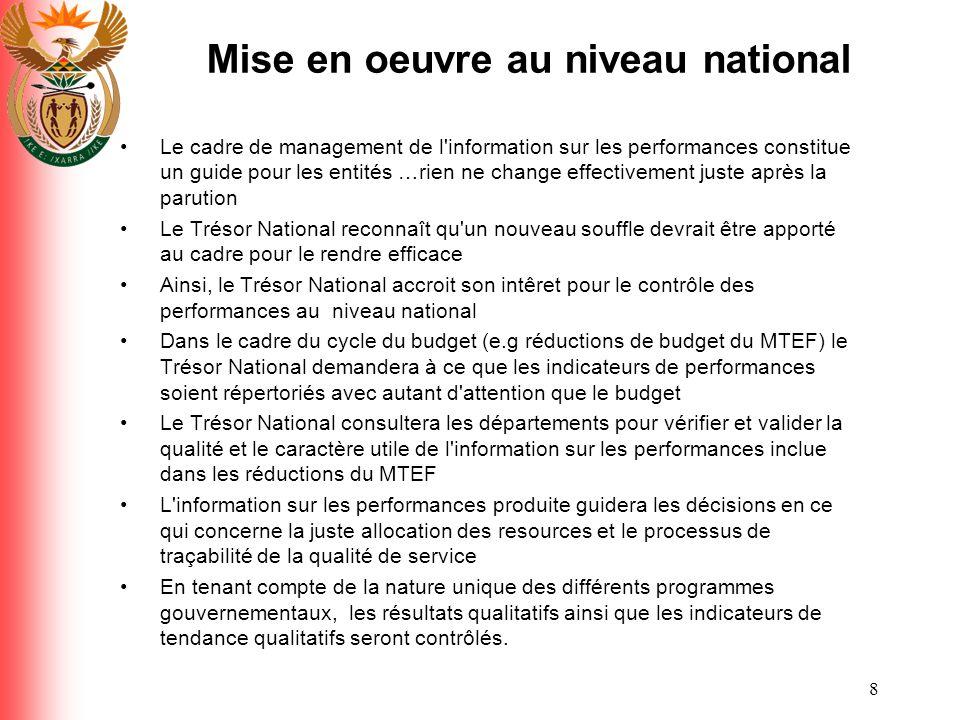 8 Mise en oeuvre au niveau national Le cadre de management de l'information sur les performances constitue un guide pour les entités …rien ne change e