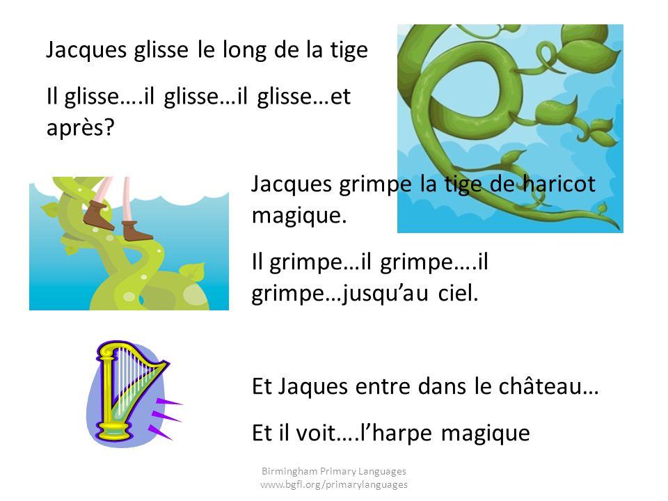 Jacques glisse le long de la tige Il glisse….il glisse…il glisse…et après? Jacques grimpe la tige de haricot magique. Il grimpe…il grimpe….il grimpe…j