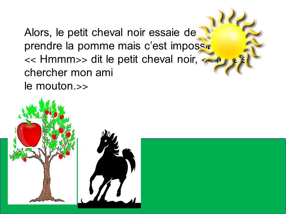 Alors, le petit cheval noir essaie de prendre la pomme mais cest impossible! ˂˂ Hmmm ˃˃ dit le petit cheval noir, ˂˂ je vais chercher mon ami le mouto